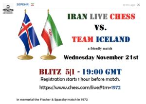 Vináttuleikur: Team Iceland gegn Iran Live Chess @ chess.com