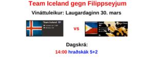 Team Iceland: Vináttuleikur gegn Filippseyjum @ chess.com