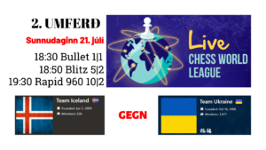 Ísland gegn Úkraínu - Heimsmótið í netskák @ chess.com